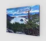 """Sacred Shimmer"" Fine Art Canvas Print, Emerald Bay, Lake Tahoe silvery blue water with storm brewing over mountains art by Artist Christie Marie Elder-Russell ©"