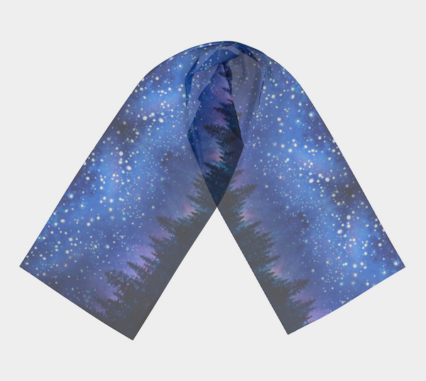 """Sierra Stars ~ Pink"" Long Scarf, trees n Night Stars Art by artist © Christie Marie"