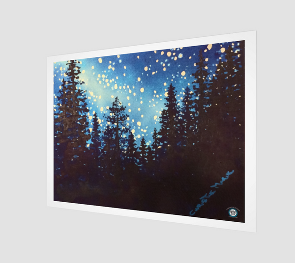 """Star Dust""  Archival Fine Art Print, Silhouetted Mountain Forest Trees and Night Stars Art by artist © Christie Marie"