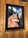 "ORIGINAL""Spirit Fox"" Professionally Framed Wild Fox Fine Art mixed media Watercolor silhouetted forest trees Christie Marie E. Russell ©"