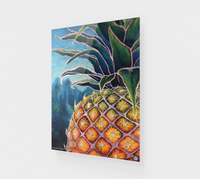 """Big Welcome"" Fine Art Acrylic Print, Hawaiian Welcome Pineapple, stylized mixed media art by artist © Christie Marie"