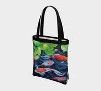 """Coy Koi"" Tote Bag / Purse / Art Bag, Koi Fish watercolor art accessories by artist © Christie Marie"