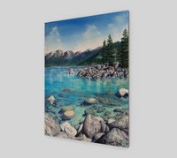 """Clear Awakening"" Fine Art Wood Print, Sand Harbor, Lake Tahoe turquoise water Mountain Nature by Artist Christie Marie Elder-Russell ©"
