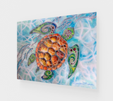 """Honu Island Waters"" Fine Art Acrylic Print, Tribal Style Sea Turtle with fish and turquoise water, art by artist Christie Marie ©"