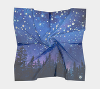 """Sierra Stars ~ Pink"" Square Scarf, trees n Night Stars Art by artist © Christie Marie"