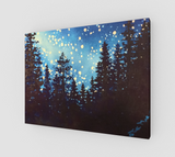 """Star Dust"" Fine Art Canvas Print, Silhouetted Mountain Forest Trees and Night Stars Art by artist © Christie Marie"