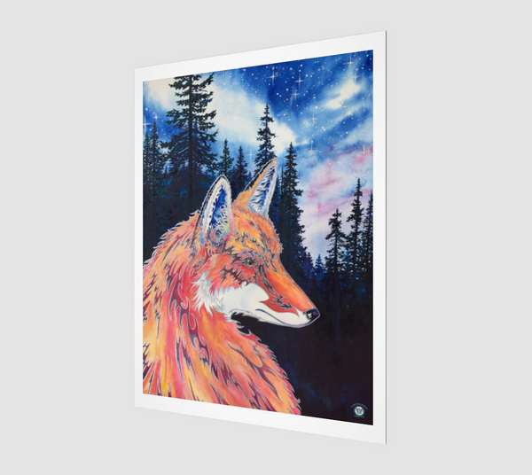"""Spirit Fox"" Archival Fine Art Print, Mountain Pine Forest, Night Stars with Spirit Fox Art by artist © Christie Marie"