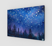 """Pink Alpine Glow"" Fine Art Canvas Print, Mountain Pine Forest Night Stars Art by artist © Christie Marie"