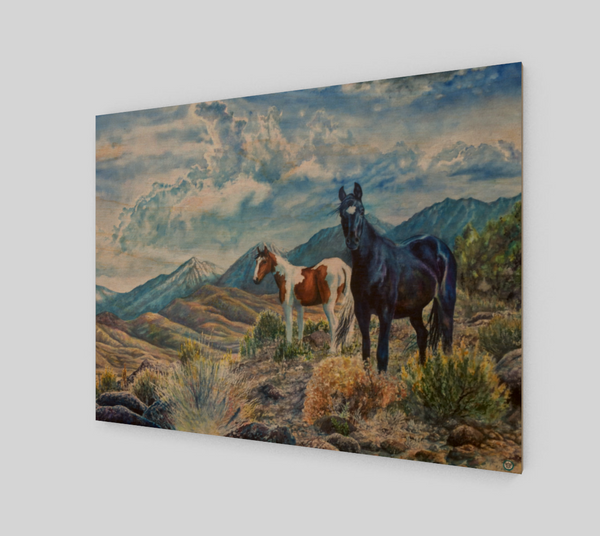 """Mustangs Wild"" Fine Art Wood Print, Wild Mustangs in the Sierra Nevada Mountain Range watercolor art by artist © Christie Marie"