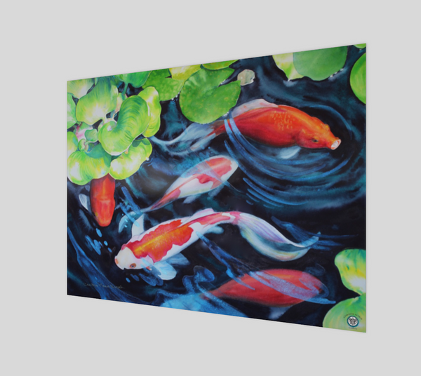"""Coy Koi"" Fine Art Poster Print, Koi Fish watercolor art prints by artist © Christie Marie"
