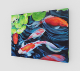 """Coy Koi"" Fine Art Canvas Print, Koi Fish watercolor art prints by artist © Christie Marie"