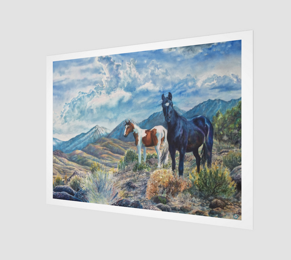 """Mustangs Wild"" Archival Fine Art Print, Wild Mustangs in the Sierra Nevada Mountain Range watercolor art by artist © Christie Marie"