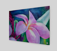 """Blooming"" Fine Art Wood Print, Plumeria / Frangipani Tropical Flower Art by artist © Christie Marie"