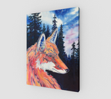 """Spirit Fox""  Fine Art Canvas Print, Mountain Pine Forest, Night Stars with Spirit Fox Art by artist © Christie Marie"