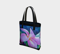 """Blooming"" Tote Travel Bag, Tropical Pink Plumeria Art by artist © Christie Marie"