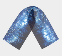 """Grand Galaxy"" Long Scarf, Alpine Forest Night Stars by artist © Christie Marie"