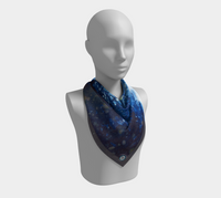 """Grand Galaxy"" Fine Art Square Scarf, Alpine Forest Night Stars Art by artist © Christie Marie"