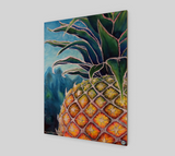 """Big Welcome"" Fine Art Wood Print, Hawaiian Welcome Pineapple, stylized mixed media art by artist © Christie Marie"