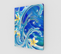 """Blue Hawaii"" Fine Art Canvas Print, Tattoo Style Waves with Tropical Plumeria Flowers by artist © Christie Marie"