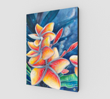 """Earth Mana"" Fine Art Canvas Print, Hawaiian Plumeria mixed media art by artist © Christie Marie"