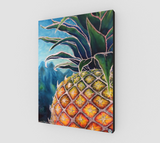 """Big Welcome"" Fine Art Canvas Print, Hawaiian Welcome Pineapple, stylized mixed media art by artist © Christie Marie"