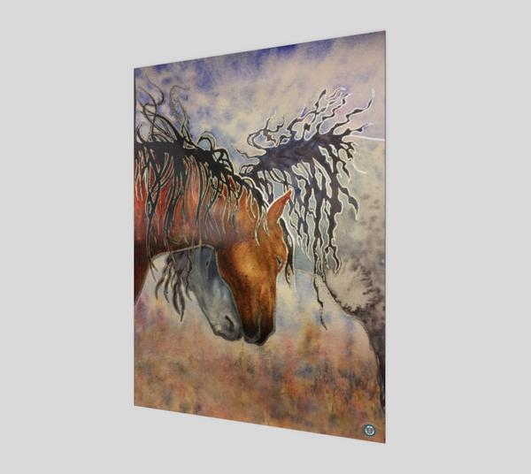 """Hugs"" Fine Art Poster Print, Horse Affection art by artist © Christie Marie"