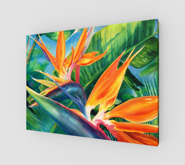 """Tropical Paradise"" Fine Art Canvas Print, Hawaiian Bird of Paradise flower art by artist © Christie Marie"