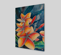 """Earth Mana"" Fine Art Wood Print, Hawaiian Plumeria mixed media art by artist © Christie Marie"