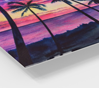 """Pink Palms"" Fine Art Acrylic Print, Pink Hawaiian sunset with palm trees and ocean, art by artist © Christie Marie"