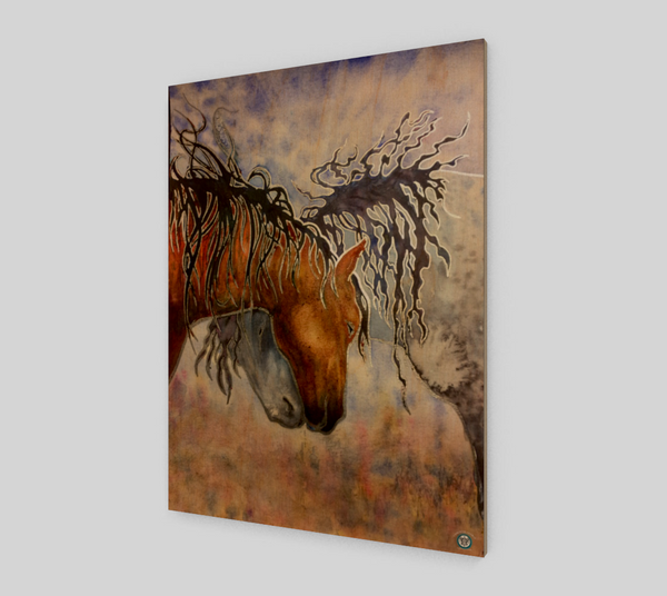 """Hugs"" Fine Art Wood Print, Horse Affection art by artist © Christie Marie"