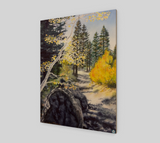 """Tahoe Trail"" Fine Art Wood Print, Lake Tahoe Fall leaves and Mountain Trail Art by Artist Christie Marie Elder-Russell ©"