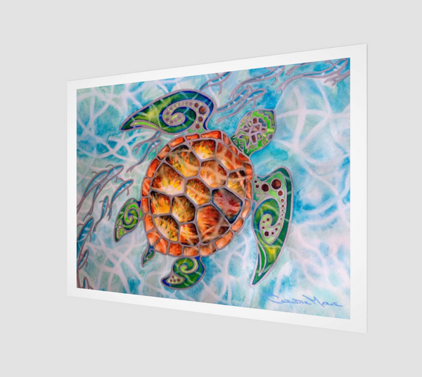 """Honu Island Waters"" Archival Fine Art Print, Tribal Style Sea Turtle with fish and turquoise water, art by artist Christie Marie ©"