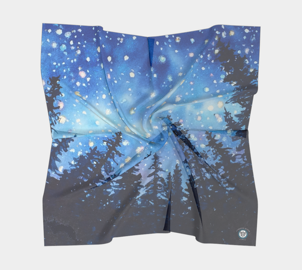 """Sierra Stars ~ Camp"" Square Scarf, Camping Night Stars n Trees Art by artist © Christie Marie"