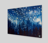 """Grand Galaxy"" Fine Art Wood Print, Galaxy Stars Alpine Night Watercolor Art, © Christie Marie"