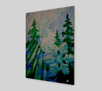 """Snowflake Forest"" Fine Art Wood Print, Stylized Forest First Snow, Snowflake Art by Artist Christie Marie Elder-Russell ©"