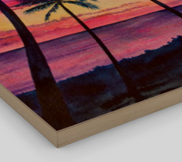 """Pink Palms"" Fine Art Wood Print, Pink Hawaiian sunset with palm trees and ocean, art by artist © Christie Marie"