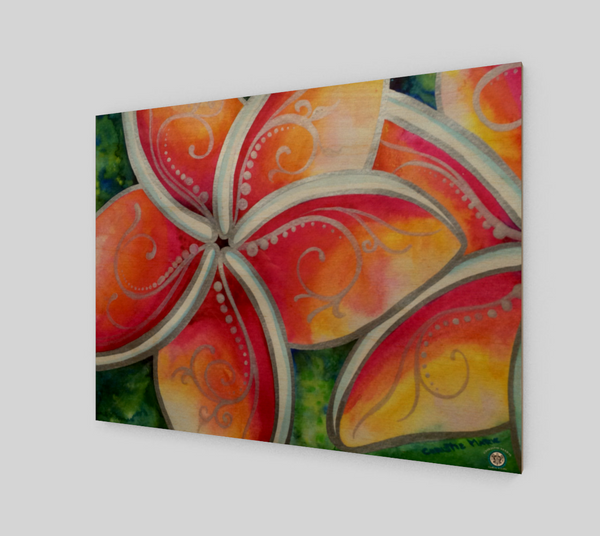 """Tropical Spirit""  Fine Art Wood Print, Hawaiian Plumeria Spirit Flower by artist © Christie Marie"