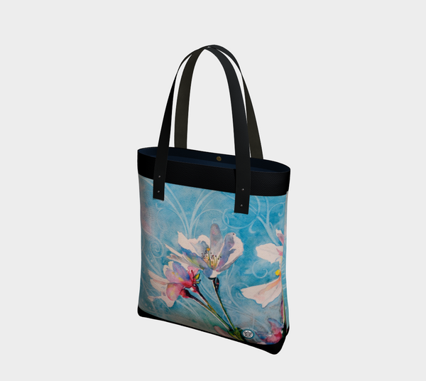 """Spring Air"" Fine Art Tote Bag / Purse, Pink White Cherry Blossoms art by artist © Christie Marie"