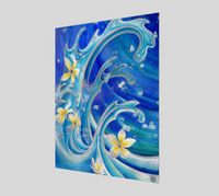 """Blue Hawaii"" Fine Art Poster Print, Tattoo Style Waves with Tropical Plumeria Flowers by artist © Christie Marie"