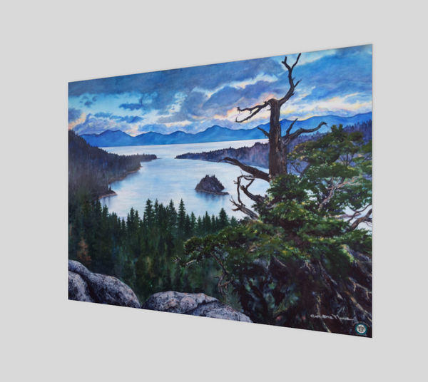 """Sacred Shimmer"" Fine Art Poster Print, Emerald Bay, Lake Tahoe silvery blue water with storm brewing over mountains art by Artist Christie Marie Elder-Russell ©"