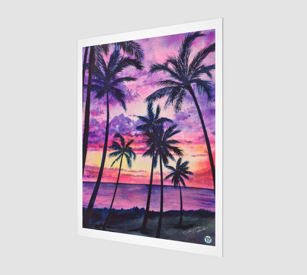 """Pink Palms"" Archival Fine Art Print, Pink Hawaiian sunset with palm trees and ocean, art by artist © Christie Marie"