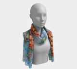 """Honu Island Waters"" Long Scarf, Tribal Sea Turtle turquoise water by artist Christie Marie ©"