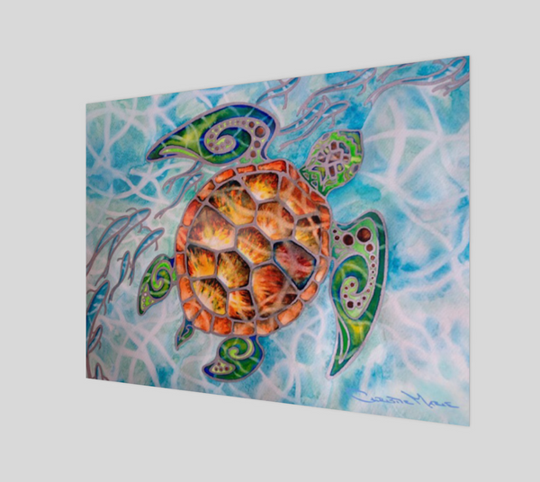 """Honu Island Waters"" Fine Art Poster Print, Tribal Style Sea Turtle with fish and turquoise water, art by artist Christie Marie ©"