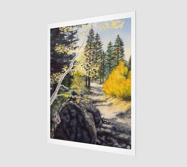 """Tahoe Trail"" Archival Fine Art Print, Lake Tahoe Fall leaves and Mountain Trail Art by Artist Christie Marie Elder Russell ©"