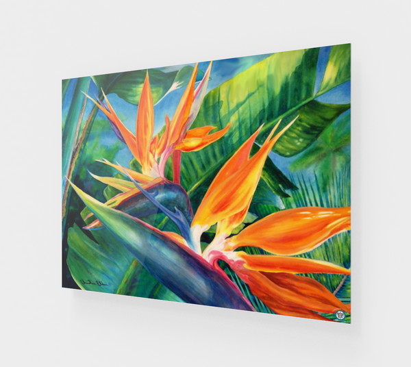 """Tropical Paradise"" Fine Art Acrylic Print, Hawaiian Bird of Paradise flower art by artist © Christie Marie"
