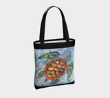 """Honu Waters"" Fine Art Tote Bag, Tribal Style Sea Turtle, turquoise water, by artist Christie Marie ©"