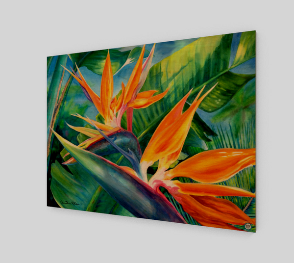 """Tropical Paradise"" Fine Art Wood Print, Hawaiian Bird of Paradise flower art by artist © Christie Marie"