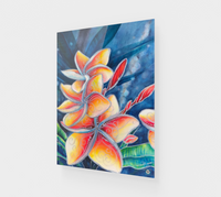 """Earth Mana"" Fine Art Acrylic Print, Hawaiian Plumeria mixed media art by artist © Christie Marie"