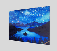 """Emerald Nights""  Fine Art Poster Print, Emerald Bay, Lake Tahoe, Night Stars Art by artist Christie Marie ©"
