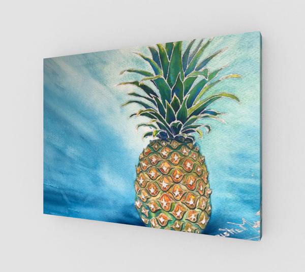 """Welcome"" Fine Art Canvas Print, Hawaiian Welcome Pineapple, stylized mixed media art by artist © Christie Marie"